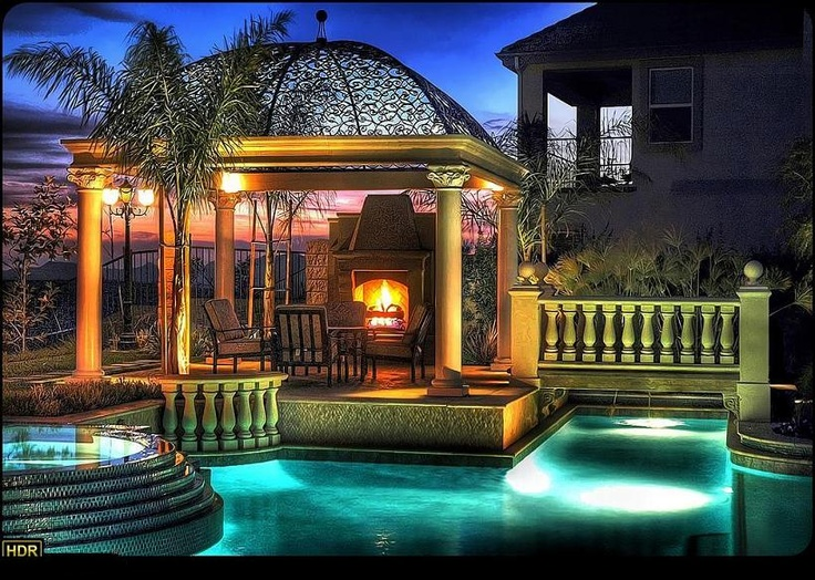 Gazebo fireplace pool hot tub outdoor oasis pinterest for Outdoor gazebo plans with fireplace