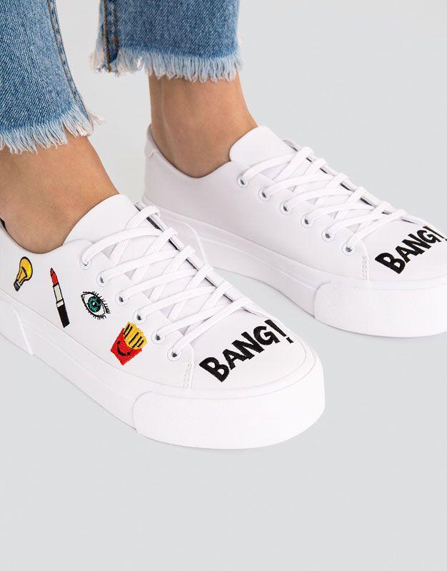 Tennis blanche pièces - Tout afficher - Chaussures - Femme - PULL&BEAR France