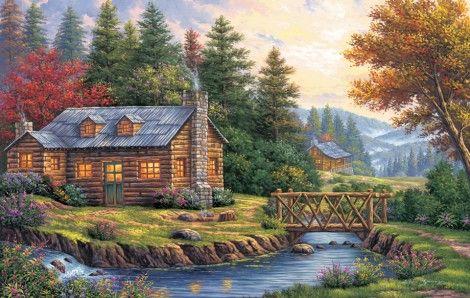 Log Cabin por el río