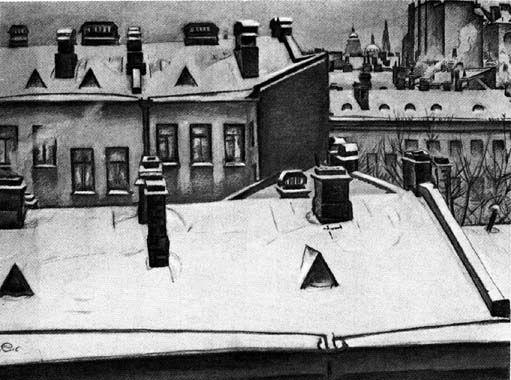 М. В. Добужинский, Петербург. Крыши в снегу. 1916