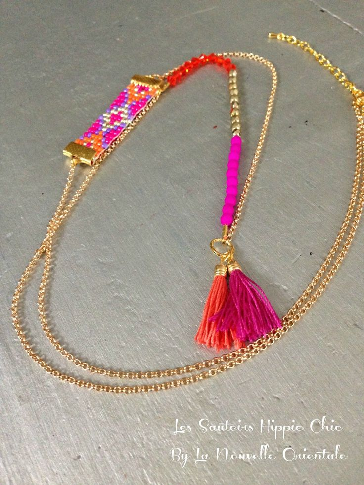 Sautoir Hippie Chic aux notes orange et fuchsia perles Swarovski, perles en verre, applique en rocailles homemade, jeu : Collier par la-nouvelle-orientale