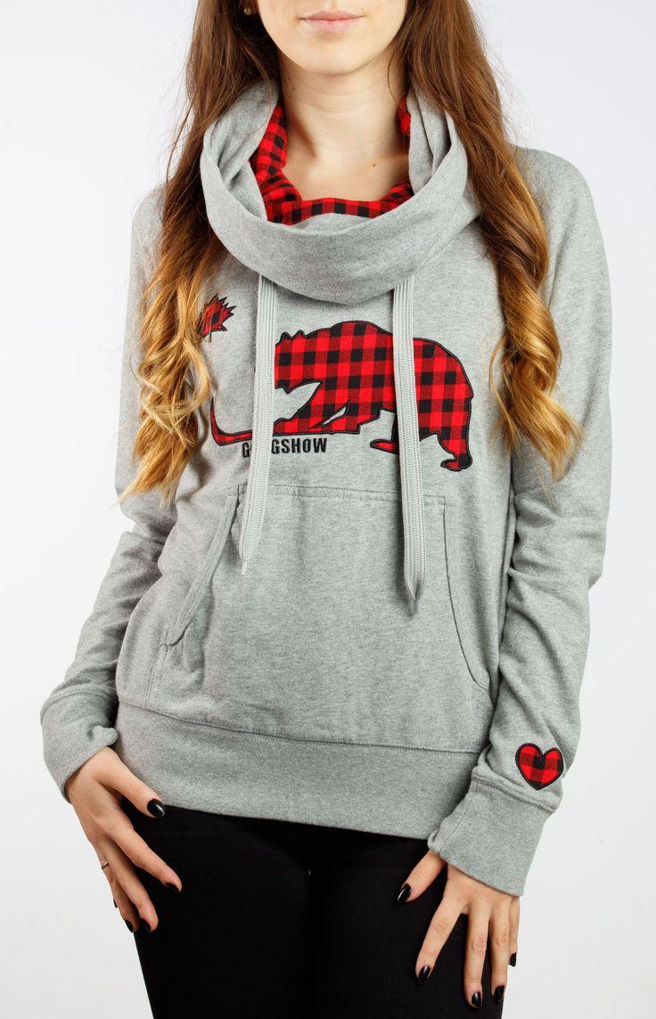 Republic Of Plaid Womens Grey Hockey Sweater Hoodie - Gongshow Gear - Lifestyle Hockey Apparel