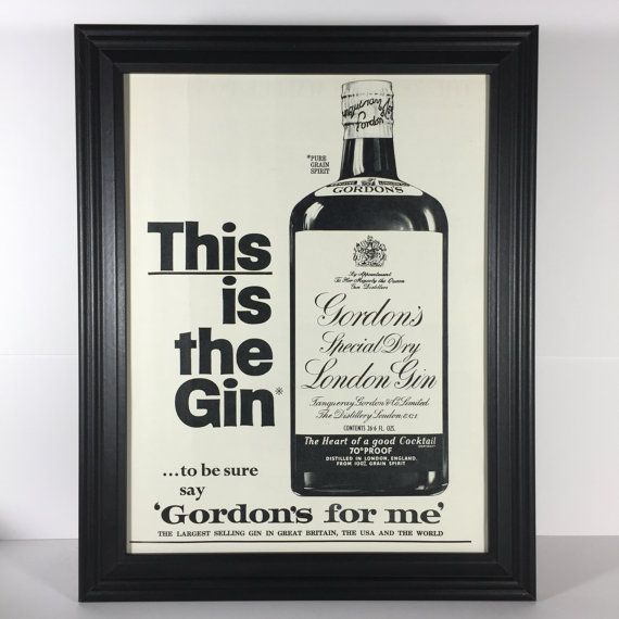 1965 VINTAGE LIQUOR AD  Gordon's Gin Framed Liquor