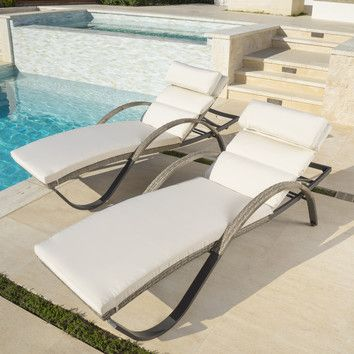 Cannes Chaise Lounges, grey resin wicker on aluminum frames, RST Outdoor Brands, sold on Wayfair $1080/2
