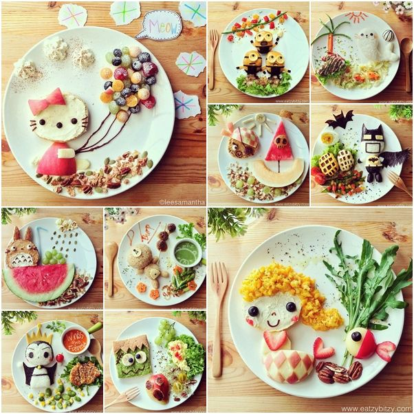 ╰☆╮ Creative Food Art on Cartoon Display tutorial and instruction.   *.♡♥♡♥Love★it