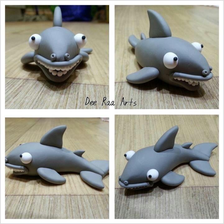Dee Raa Arts polymer clay fimo sculpey cute kawaii animal shark fish grey grey jaws sea creature