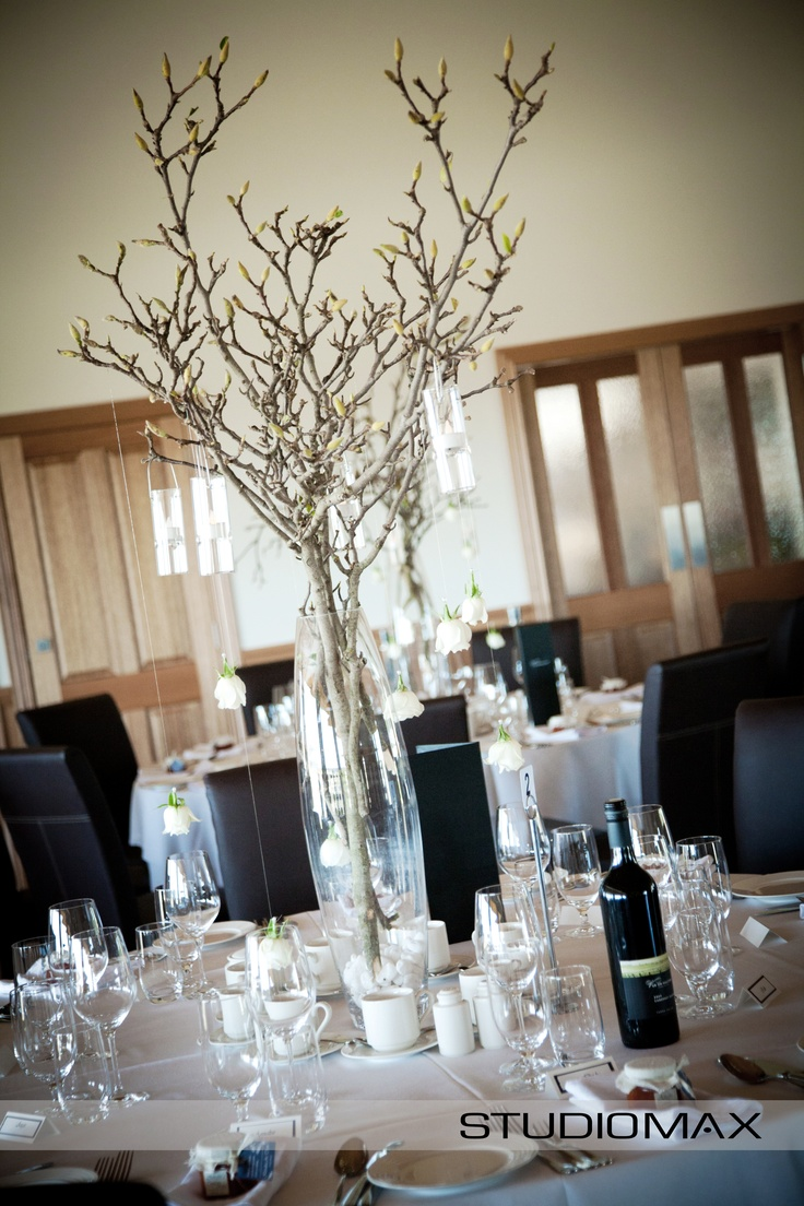 Wedding Reception Inspiration. Magnolia Branches as Wedding Table centerpieces.   Photography by Melbourne Wedding Photographer StudioMax