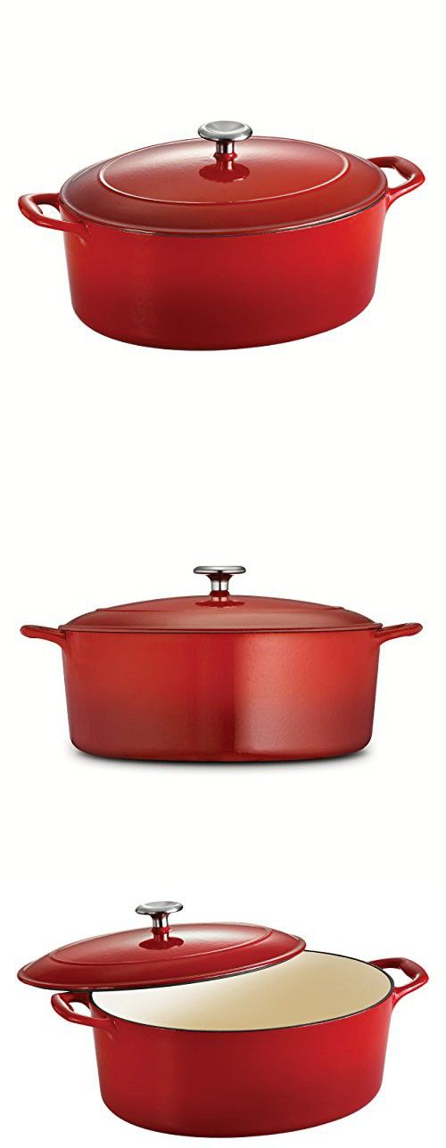 Tramontina Enameled Cast Iron Covered Oval Dutch Oven, 7-Quart, Gradated Red