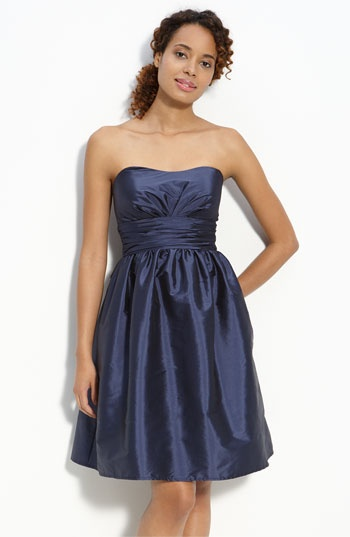 Eliza J Strapless Taffeta Dress in Navy #dresses #navy #strapless #pockets $138