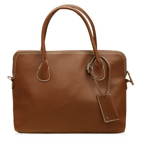 Fashion Style Solid Color and Pendant Design Men's Messenger Bag - COFFEE