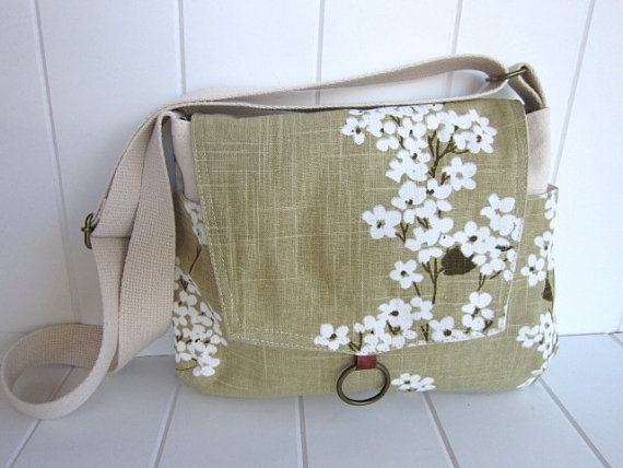 Linen floral messenger bag/ipad messenger bag/spring/summer. $49.00, via Etsy.
