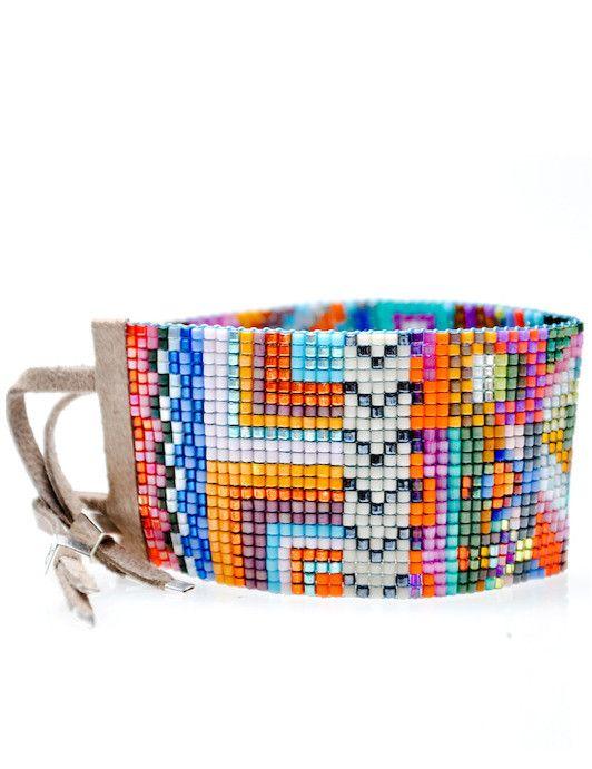 Wide Beaded Bracelet in Havana by Julie Rofman..