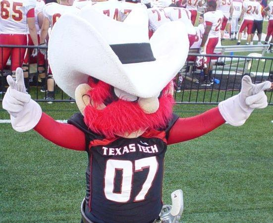 Texas Tech - costumed mascot  Raider Red displaying the Guns up hand gesture