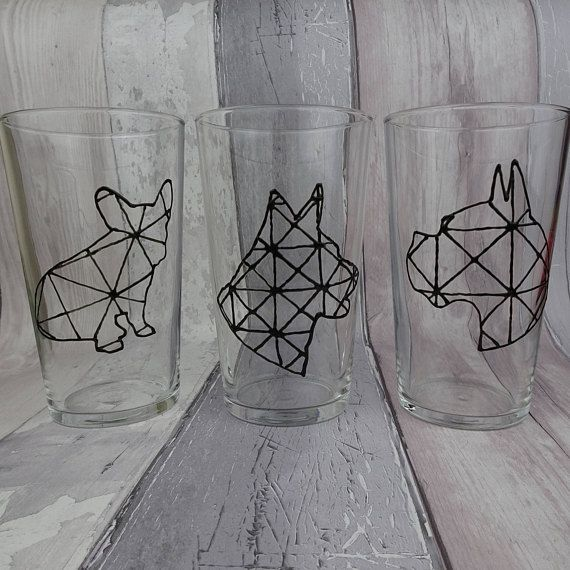 Monochrome geometric hand painted dog glasses Pint glass