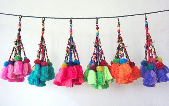 10pcs de decoración borla borla borla llavero Decor por midgetgems