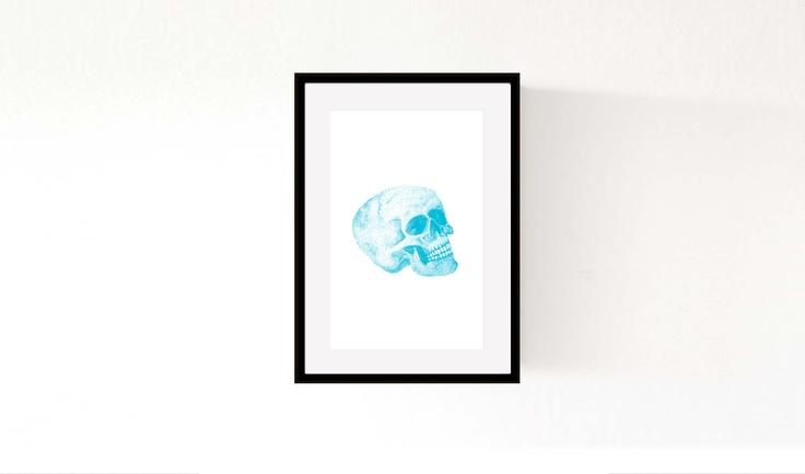 'Skull (Blue)' ©Morgan Connoley http://colourandskulls.bigcartel.com/