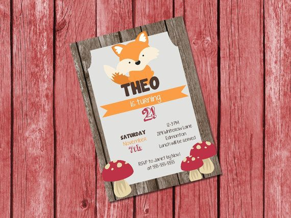 Woodland birthday invitation / fox birthday by PrettyPrintablesInk