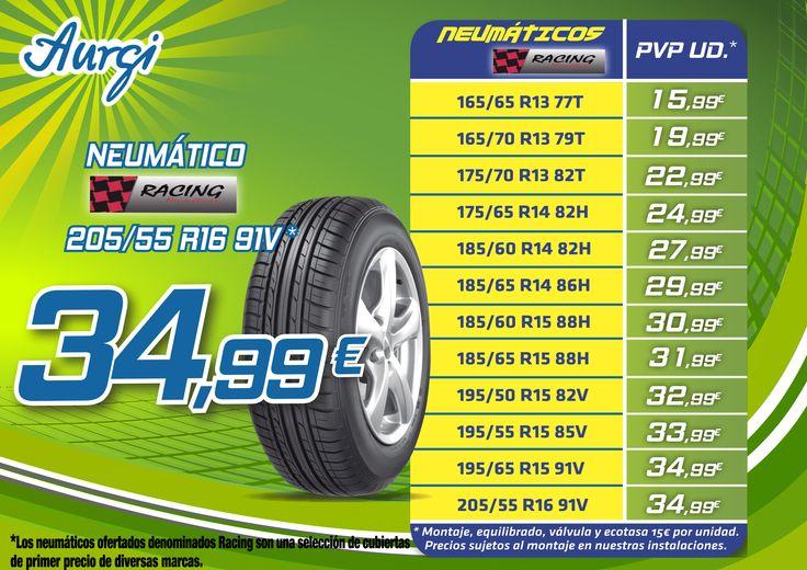 Oferta Verano (28 de agosto al 28 de octubre 2014) - Neumáticos Rancing. Más información en www.aurgi.com/