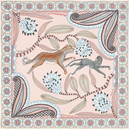 The Savana Dance, Hermes silk twill pocket square, 18