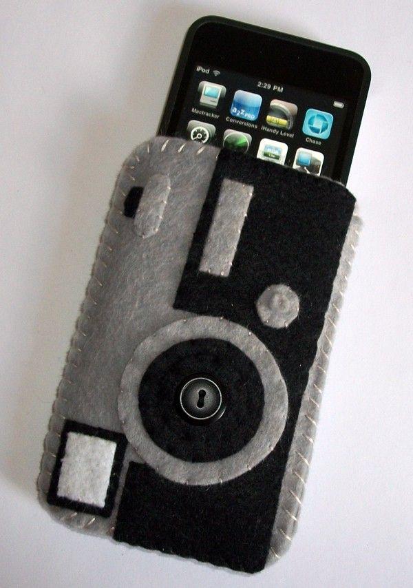 Retro Camera Ipod Iphone Cell Phone felt Case. $20.00, via Etsy.