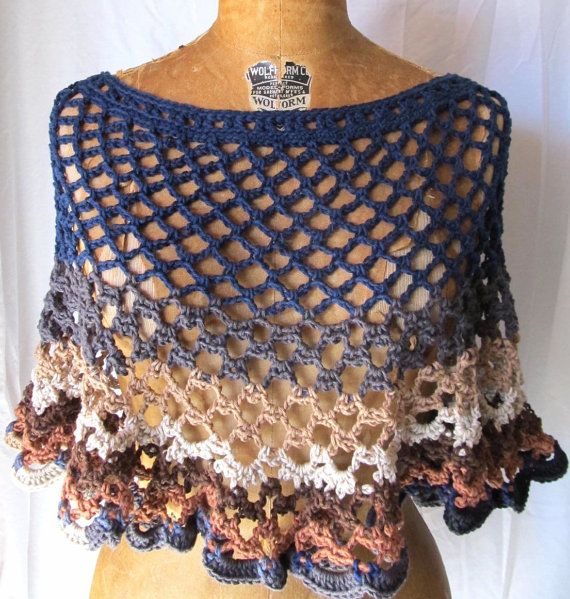 Womens crochet poncho / capelet Caprice fall size by CoffyCrochet