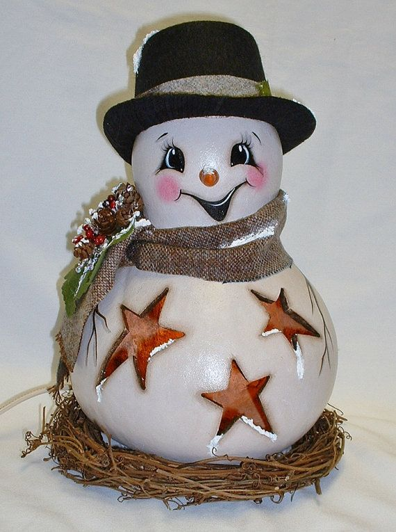 Light-Up Snowman Gourd with Stars   Hand Painted by FromGramsHouse