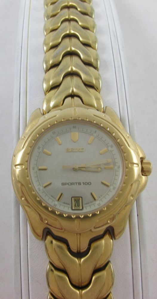 MEN'S SEIKO SPORTS 100 GOLD TONE 7N42-7129 WRIST WATCH #Seiko