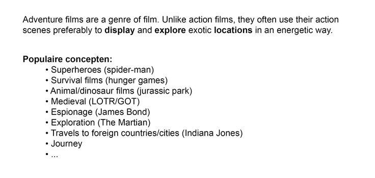 Definitie en voorbeelden van avonturen films