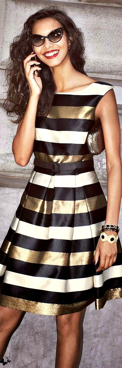 black and gold metallic striped dress #UNIQUE_WOMENS_FASHION