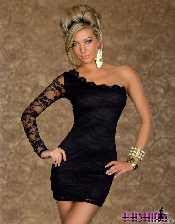 Rochie eleganta de seara din dantela fina, perfecta pentru evenimente.  Rochie de ocazie, scurta cu design one-shoulder.  Material elastic s...