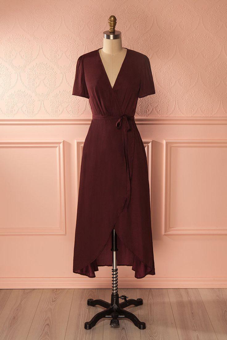 Skena Burgundy - Burgundy low cut wrap dress www.1861.ca