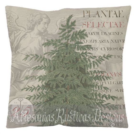 Christmas Pillow Angel Pine Tree Latin Text & Stamp Cotton Canvas Burlap Throw Pillow Cover