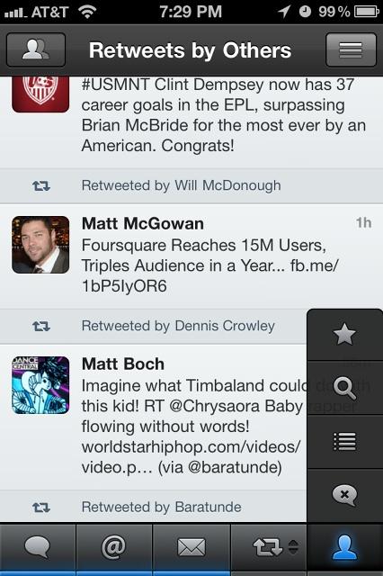 Tweetbot (12/2011) Tab navigation with menu to change views