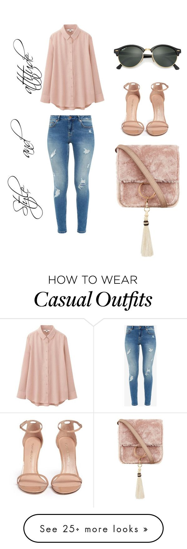 """Casual elegant"" by parampara on Polyvore featuring Ted Baker, Uniqlo, Brother Vellies, Stuart Weitzman and Ray-Ban"