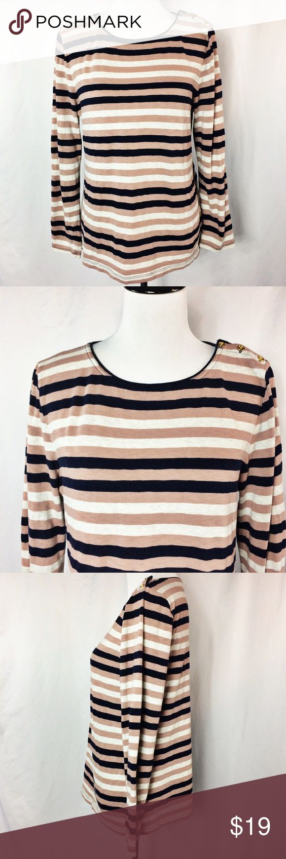 "J. Crew Striped Long Sleeve Top w Button Detail Cute and comfortable cotton long sleeve top with navy blue, gray and mauve stripes. Gold button accent at left shoulder.  Bust ~38"" Sleeve 22"" Length ~25""  100% Cotton  Thank you for looking!  May require pressing or steaming upon arrival J. Crew Tops Tees - Long Sleeve"
