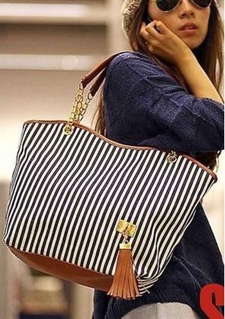 Striped Zipper PU Leather Handbag