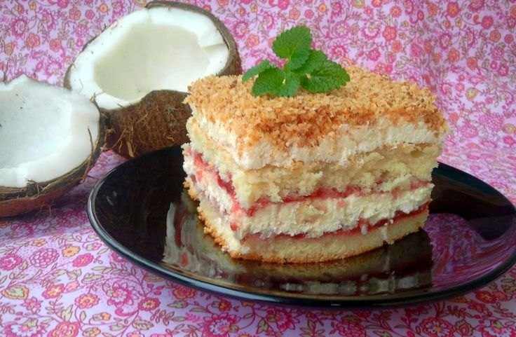 Domowa Cukierenka - Domowa Kuchnia: kremowe ciasto kokosowo-malinowe