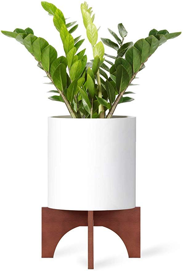 Amazon Com Mkono Plant Stand Wood Mid Century Flower Pot Holder Home Decor 12 Inch Planter In 2020 Flower Pot Holder Indoor Flower Pots Plant Stand Indoor