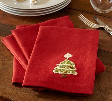 Christmas Tree Crewel Embroidered Napkins, Set of 4 #potterybarn