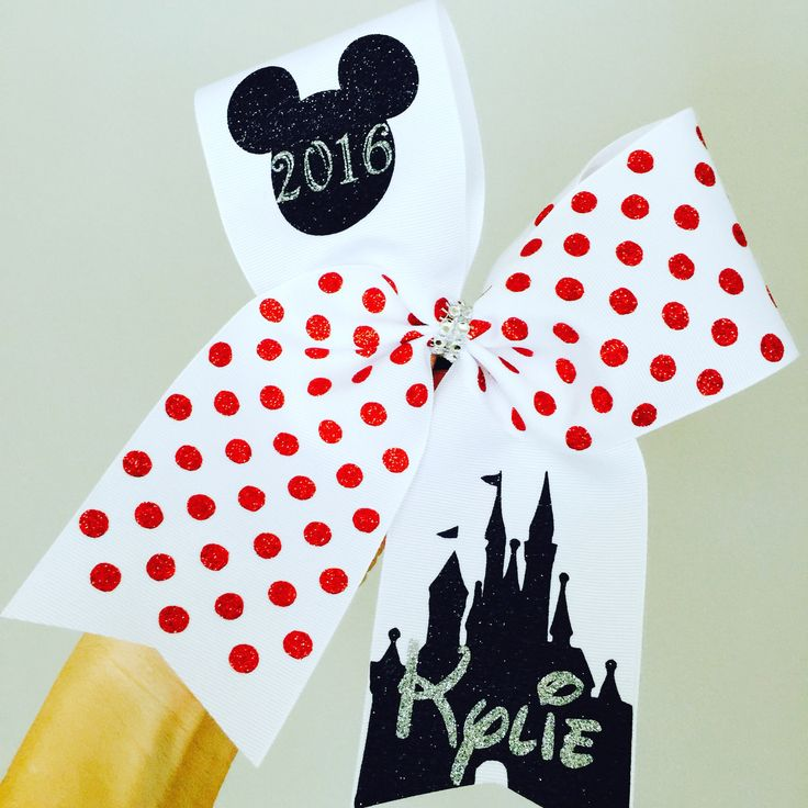 PERSONALIZED Polka dot 2016 Mickey Mouse Disney Cheer Bow