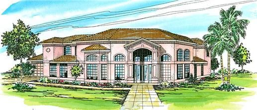 This+lavish+Mediterranean+house+design+with+Southwest+influences+(Plan+#108-1370)+has+over+3320+sq+ft+of+living+space.+The+two+story+floor+plan+includes+5+bedrooms.