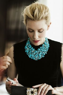 Cate Blanchett - TIffany Statement Necklace- love this! The colour, the beading, especially against black and Care Blanchett is a style icon of mine. Her stylist does a magnificent job dressing her.