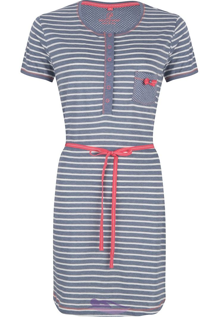 Pastunette stripey slateblue & white nightdress with polka dots and press stud style buttons