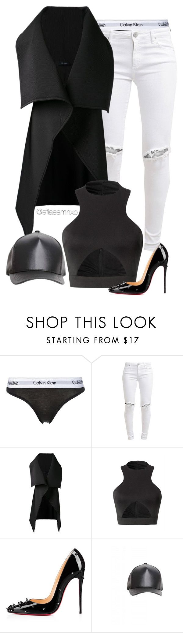"""""""Escape"""" by efiaeemnxo ❤ liked on Polyvore featuring Calvin Klein Underwear, FiveUnits, Sid Neigum, Christian Louboutin, women's clothing, women, female, woman, misses and juniors"""