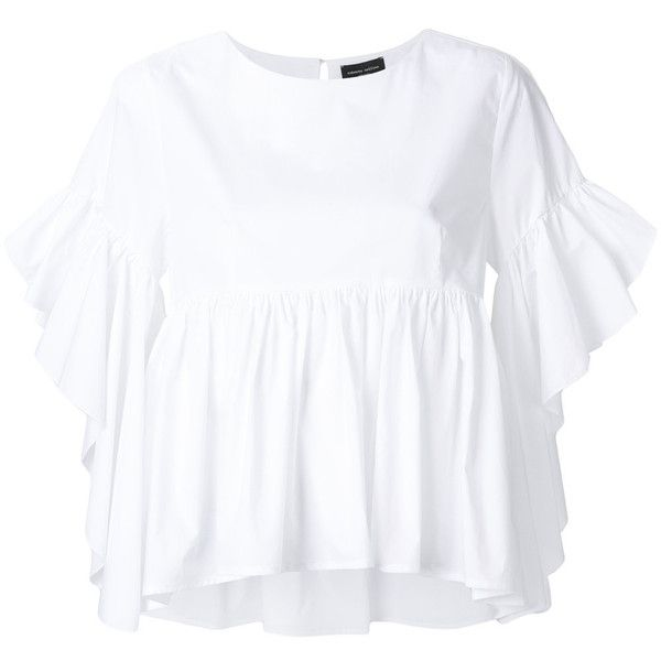 Roberto Collina puffed peplum blouse (295 CAD) ❤ liked on Polyvore featuring tops, blouses, white, white cotton tops, peplum top, white blouse, white top and white peplum top