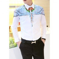 $17.20 Casual Style Shirt Collar Wigs Print Long Sleeves Polyester White Shirt For Men