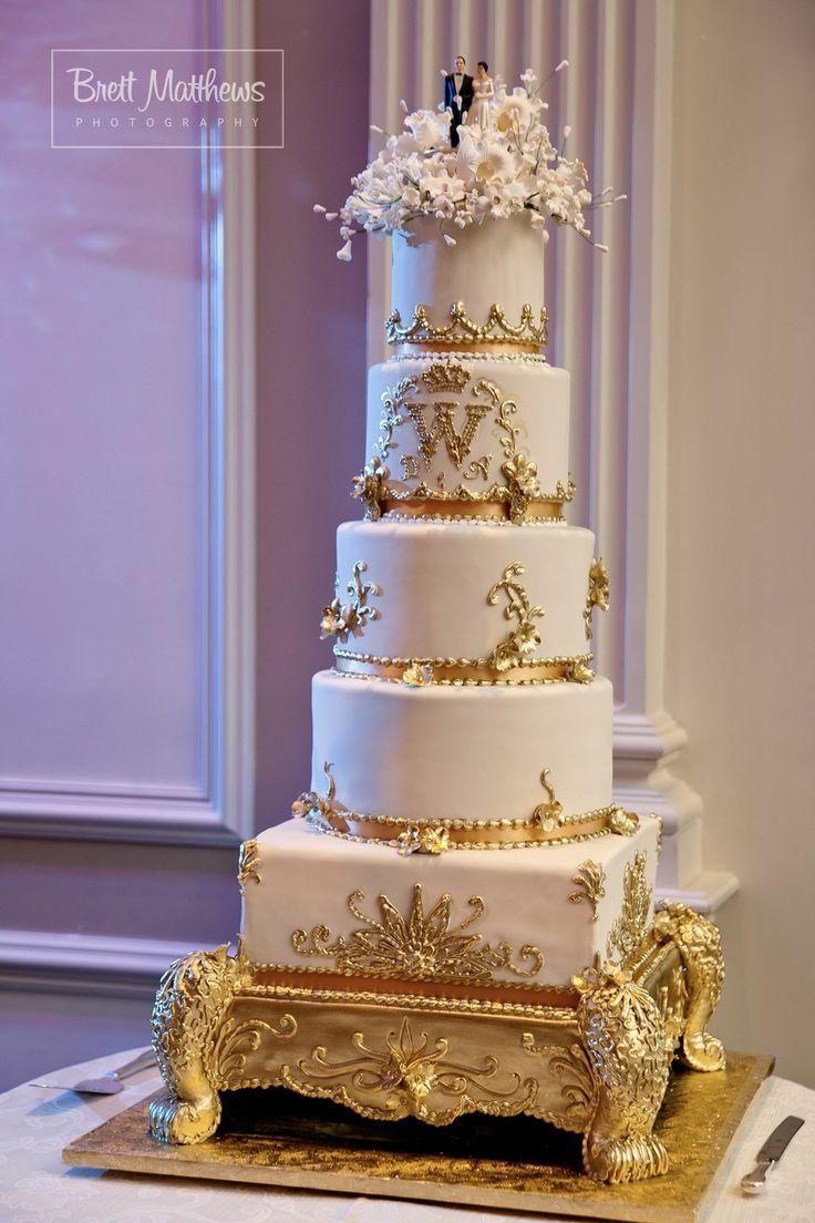 Gold And White Regal Wedding Cake With Custom Monogram
