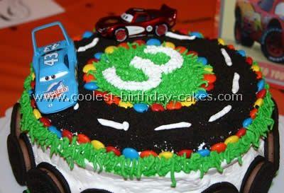 race car Birthday Cake w/ M - the boys' fave!