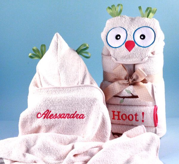 13 best personalized baby gifts images on pinterest baby names its a hoot hooded towel personalized baby gift negle Image collections