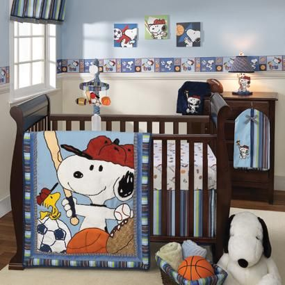 Snoopy And Woodstock Playing Baseball Soccer Basketball Football In Your Nursery Blue Baby Bedding Is Perfect For Infant Boys